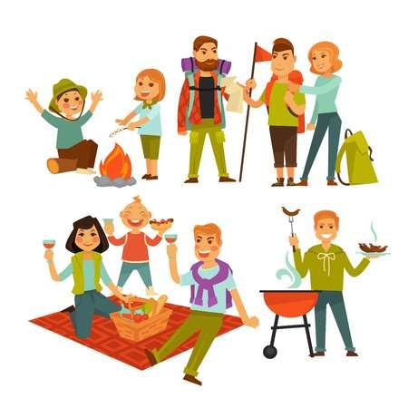 Tourists with happy children 向量圖像