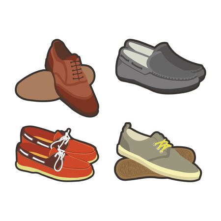 Mens shoes in sport and classical styles set Illustration