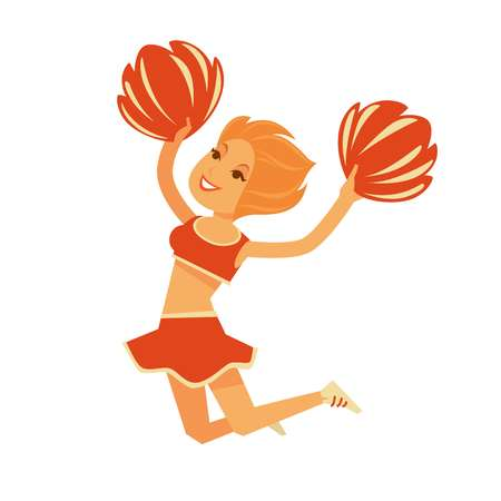 Redhead cheerleader jumps with pompons isolated cartoon illustration
