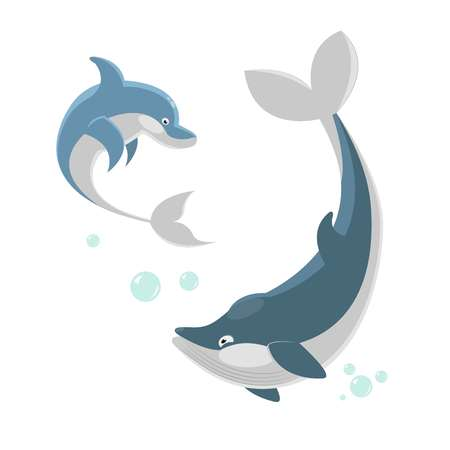 Cute ocaenic whale and sea dolphin isolated illustration