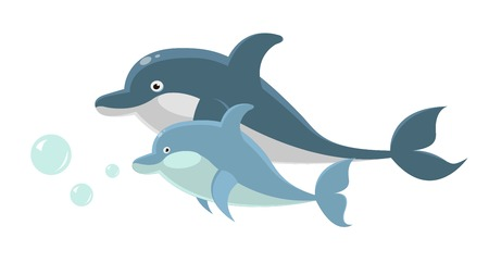 Big and small dolphins swim together isolated illustration