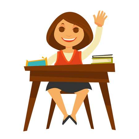 school class: Girl sits at desk with textbooks and raises her hand