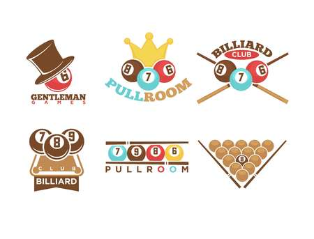 game of pool: Pool or billiards vector icons set