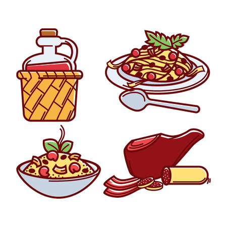 Italian traditional delicious food isolated cartoon illustrations set
