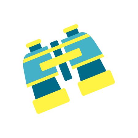 Bright blue and yellow plastic binocular isolated illustration