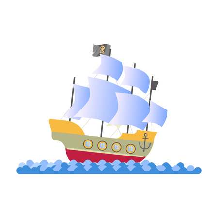 Ancient pirate ship with white sails and black flag