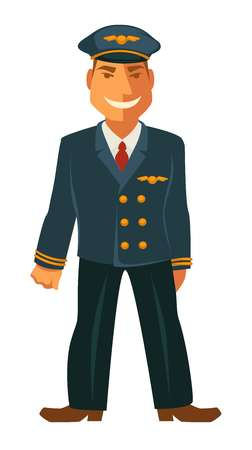 and delighted: Smiling pilot in uniform
