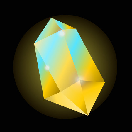 Bright yellow crystal that shines with blue color