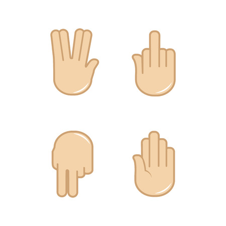 Vector set of hand gestures icons. Sign language. Illustration