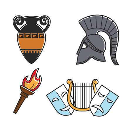 Antiguo griego símbolos de la cultura aislados ilustraciones de dibujos animados conjunto