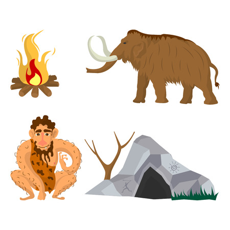 axe: Stone age or Neanderthal man household vector flat icons