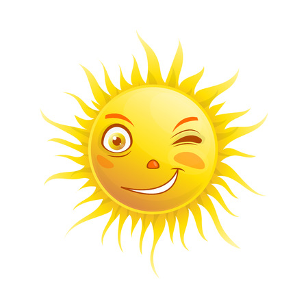 Sun smile winking cartoon emoticon summer emoji face vector icon Illustration