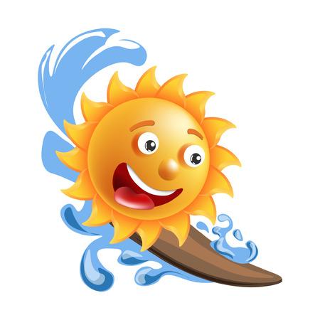 Sun smile cartoon emoticon summer ocean surfing emoji face vector icon 向量圖像