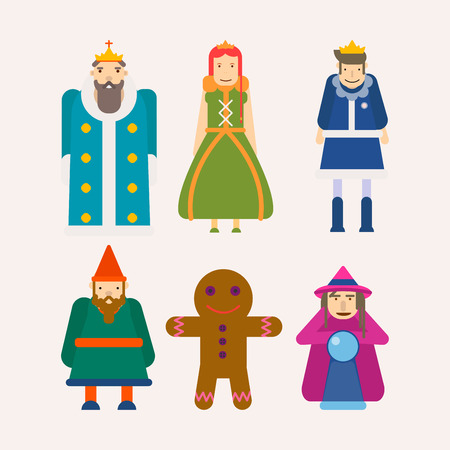 Fairy tale characters cartoon flat vector isolated icons set