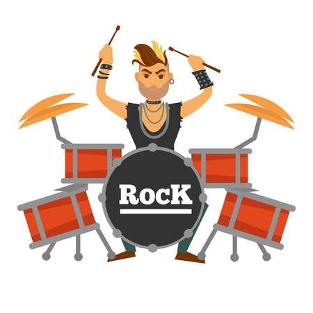 イロコイのドラム プレーヤー実行ロック曲イラスト