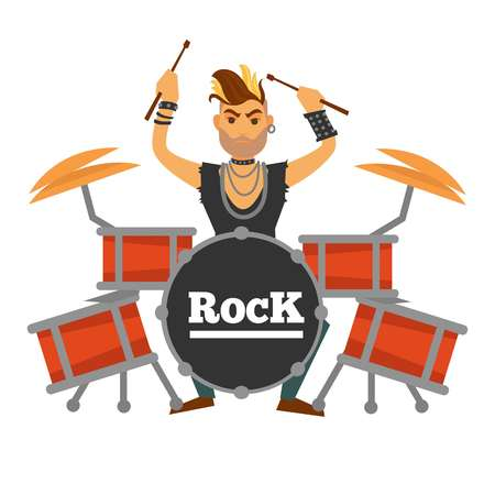 Drum player with iroquois performs rock song illustration