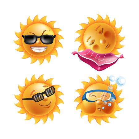 Sun smiles cartoon emoticons and summer emoji faces vector icons set