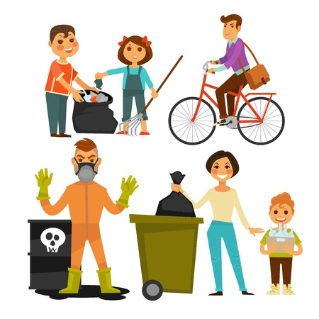 People removing garbage on street ecology protection vector flat icons Illustration