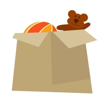 moving box: Cardboard box with childish toys isolated cartoon illustration Illustration