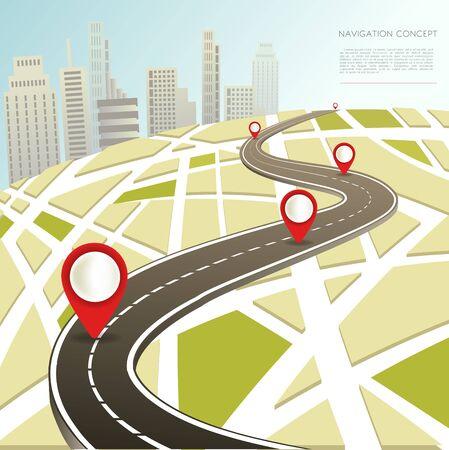 map pin: Navigation map with location pinc vector car road route Illustration