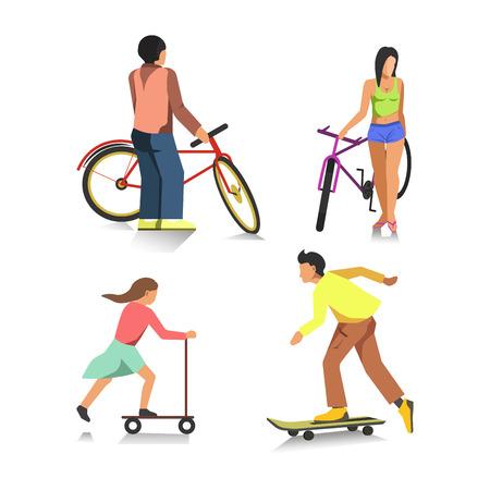 happy people: People on bike, boy on skateboard, girl on scooter