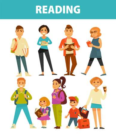 People reading books young and adults vector flat isolated icons set