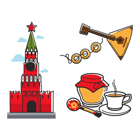 Russia Soviet Union symbols for USSR Russian travel tourist attraction vector icons Illustration