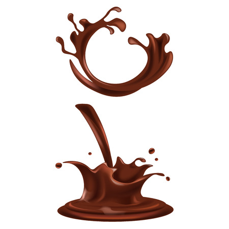Splashes and drops of dark chocolate illustrations set