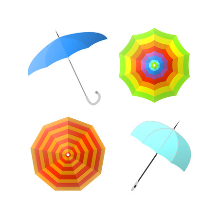 fall fashion: Set of colorful umbrellas from different angles vector illustrations Illustration