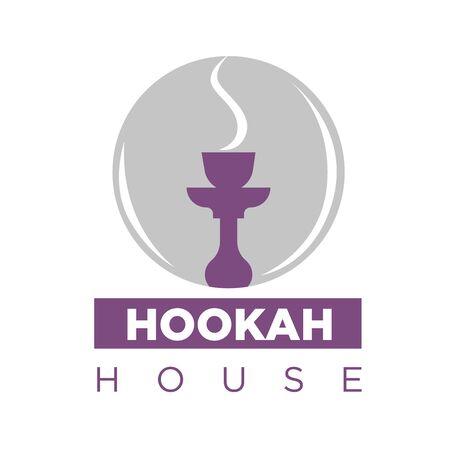 Smoking hookah on emblem Illustration