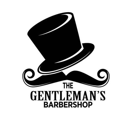 hairdresser: Gentlemans barber shop black promotional emblem with tall hat and curled mustaches isolated cartoon vector illustration on white background. Salon of male beauty monochrome advertising logotype. Illustration