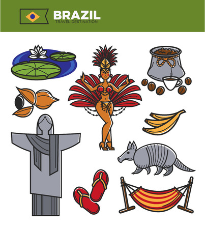 Brazil travel landmarks and famous tourism sightseeing icons. Brazilian flag and coffee, Christ Redeemer on Corcovado in Rio de Janeiro, samba carnival dancer or exotic armadillo animal. Vector set