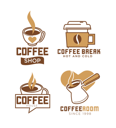 Coffee shop emblems with hot and cold beverages in metal turk, ceramic and paper cups with heart isolated vector illustrations set on white background. Cafe with tasty drinks since 1998 logotype. Illustration