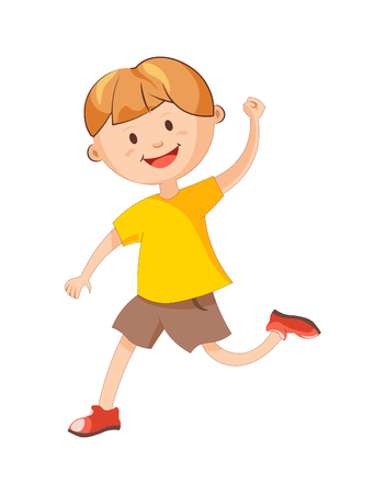 Cheerful boy in yellow T-shirt, loose brown shorts and red shoes runs with raised hand isolated cartoon vector illustration on white background. Happy child plays game. Young male character in motion. Illustration