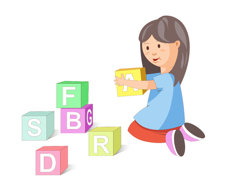 Little girl with dark hair sits on her knees and builds pyramid of cubes with letters isolated vector illustration on white background. Child plays with educational toys. Kid has fun and learns read.