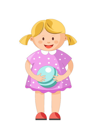 Little blond girl with ponytails in purple polka-dot dress stands and holds small shiny blue ball isolated cartoon vector illustration on white background. Cute cheerful toddler plays with toy.