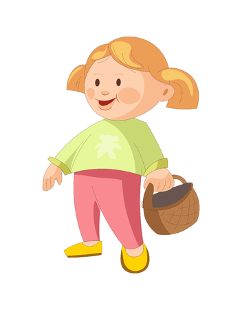 Little girl with blonde hair braided in ponytails, dressed in green sweater, pink pants and yellow shoes stands and holds wicker basket isolated cartoon vector illustration on white background.