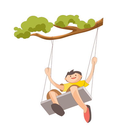 Boy in yellow T-shirt on handmade swing made of plank and ropes that tied to tree branch with green leaves isolated cartoon vector illustration on white background. Child spend time outdoor.