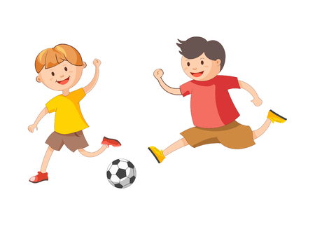 Little cheerful boys in bright T-shirts and loose shorts plays football isolated cartoon flat vector illustration on white background. Children spend time outdoor involved in physical activity.