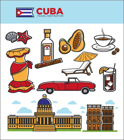 car isolated: Cuba tourism travel symbols and culture famous sightseeing icons. Cuban flag, Havana cigar or rum and Capitol building architecture, coffee or avocado and retro car