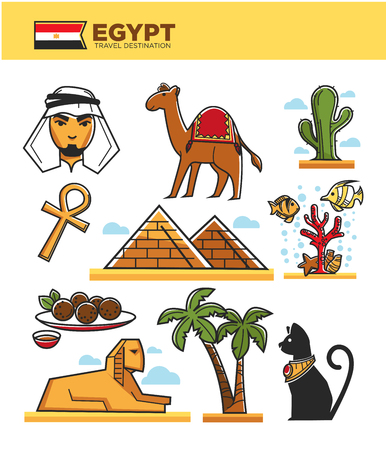 Egypt travel tourism landmark symbols or famous culture attractions. Vector isolated set of Egyptian flag, Cairo pyramids, Arab man on camel or Pharaoh Tutankhamen Sphinx in desert palm