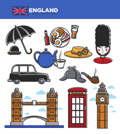 England travel tourism symbols and famous culture landmarks or attractions. UK British flag, Big Ben Tower or London Bridge and royal guard, telephone booth and taxi cab. Vector isolated icons set Illustration