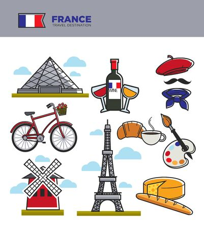 France tourism travel landmark symbols and culture tourist attractions. French flag, Eiffel Tower or Louvre and Paris Triumphal arch, cheese or wine and baguette and artist paints. Vector icons