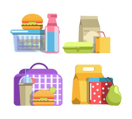 건강식 과일 및 패스트 푸드, 미네랄 워터 및 스위트 주스가있는 플라스틱 용기 및 종이 봉투로 구성된 영양가있는 학교 급식 스톡 콘텐츠 - 83871026