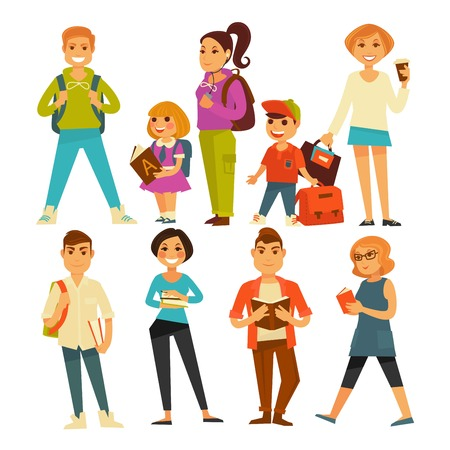 People of various ages with books and bags isolated vector illustrations set on white background. Young guys from university, little children with rucksacks. Illustration