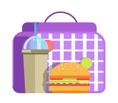School lunch with big hamburger and cup of sweet soda with straw cartoon illustration.
