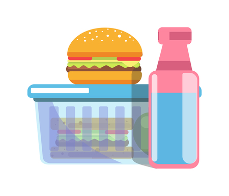 Big hamburger, sandwich in plastic container and bottle with water for school lunch.