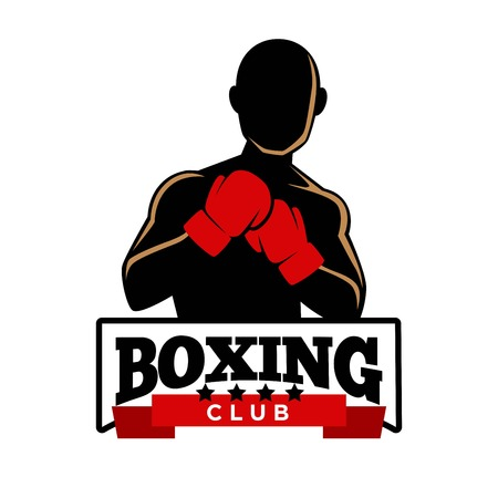 heavy: Boxing club emblem with sportsman in gloves silhouette Illustration