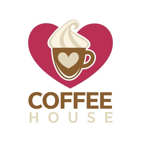 Coffee house emblem with cup of hot drink