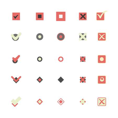 Colorful icons that shows marking choice illustrations set Illustration